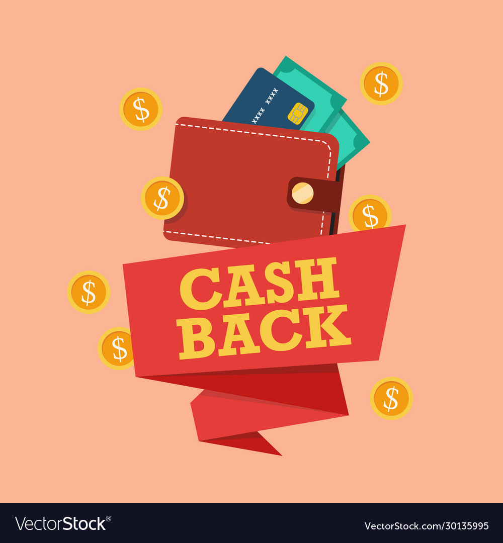 Cash back icon with wallet and coin