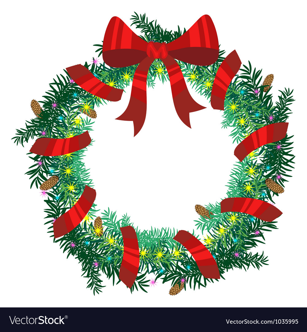 Christmas wreath of fir twigs Royalty Free Vector Image