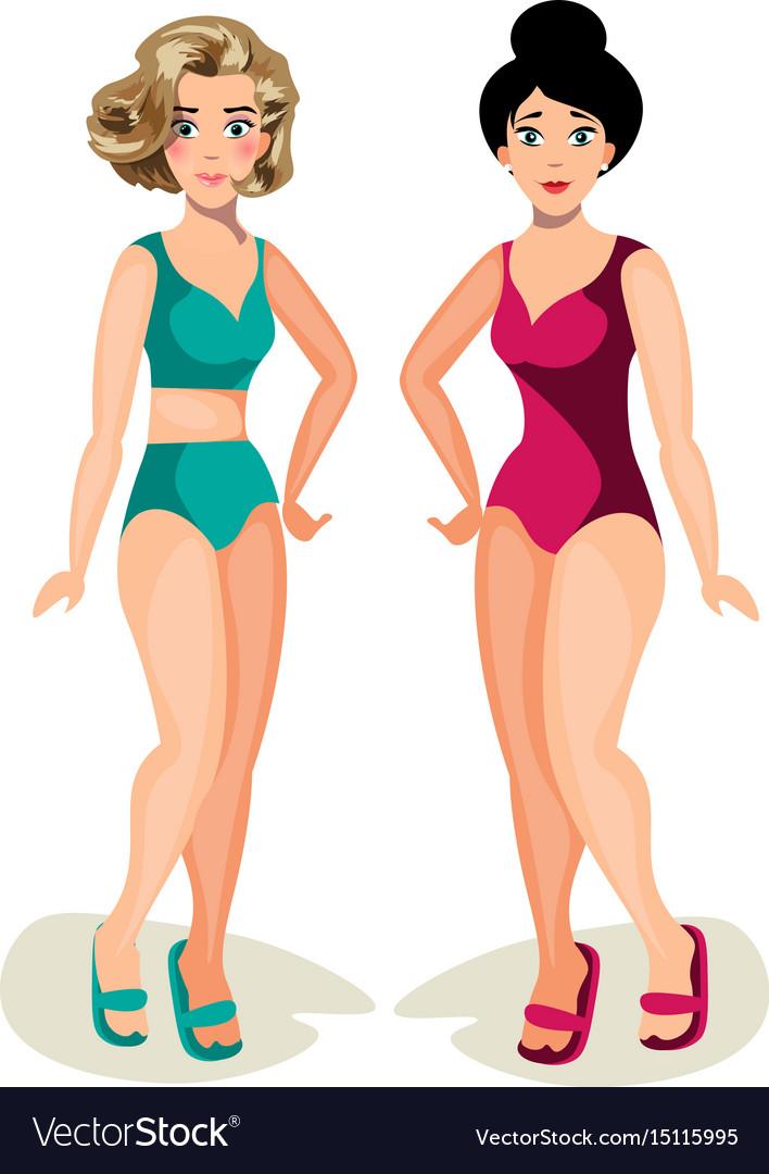 Cute girls in swimsuit