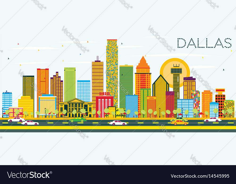 Dallas skyline with color buildings and blue sky vector image