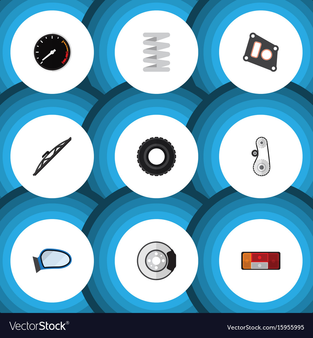 Flat icon auto set of gasket windshield vector image