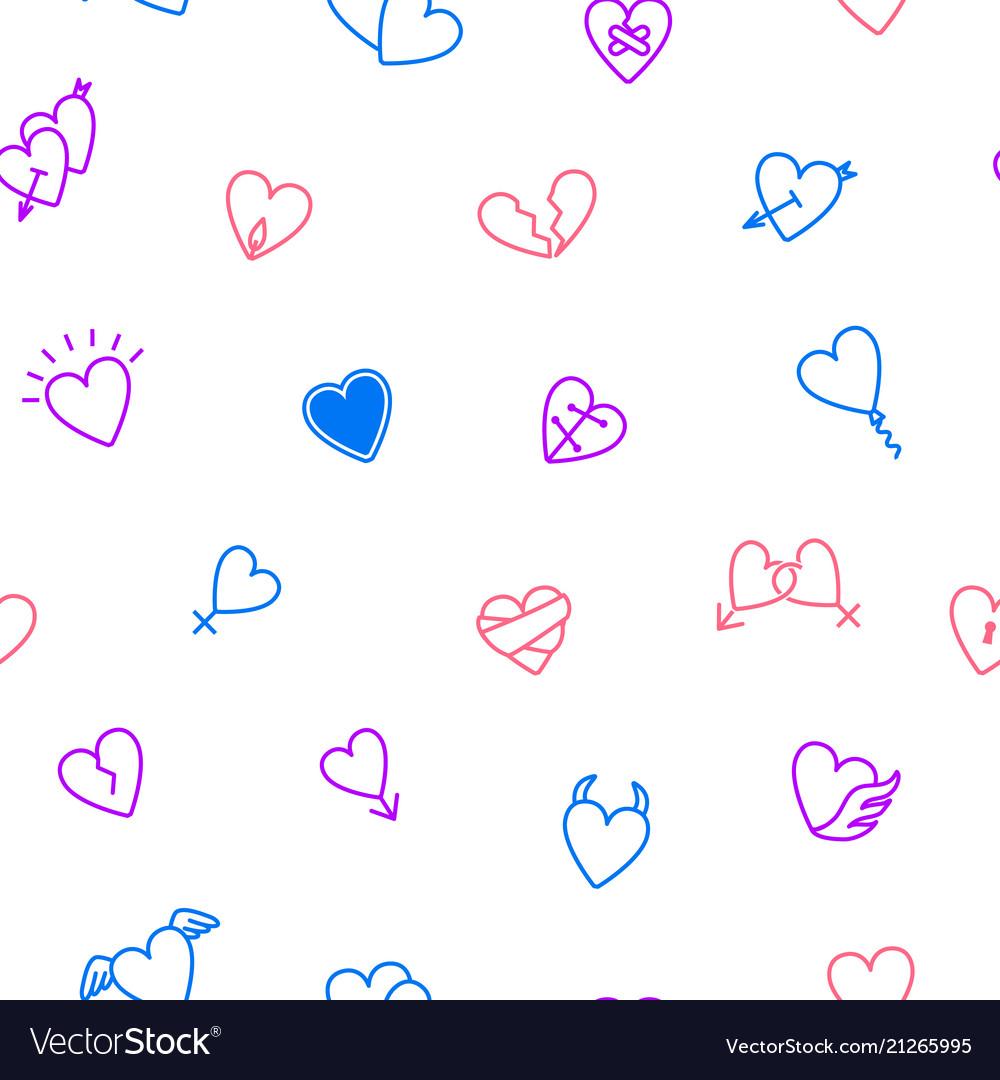 Heart thin line seamless pattern background
