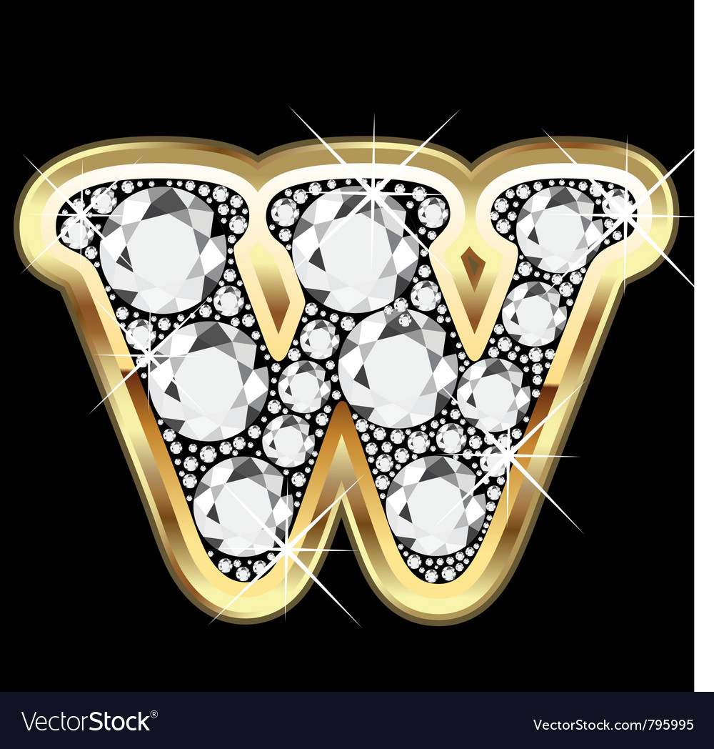 Letter wgold and diamond