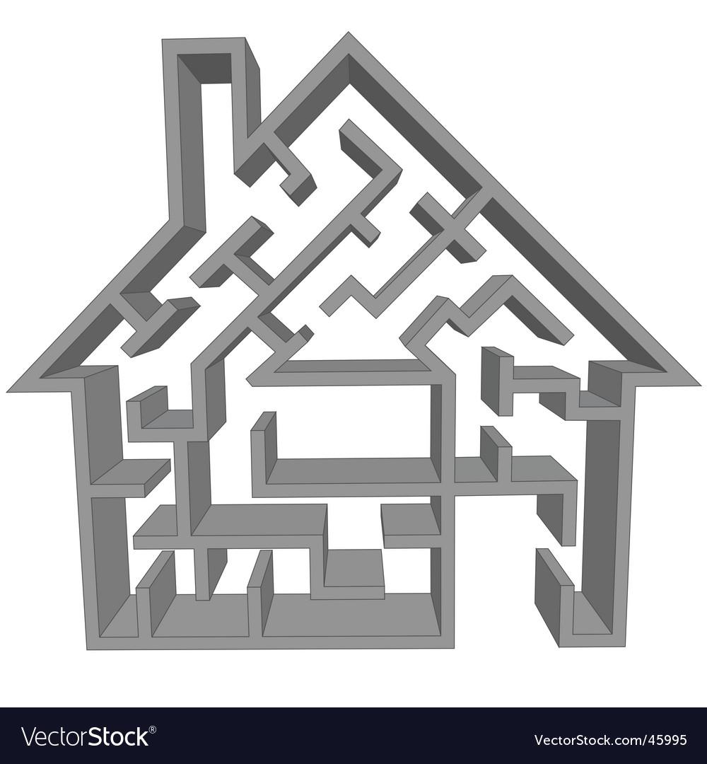 Maze house vector image