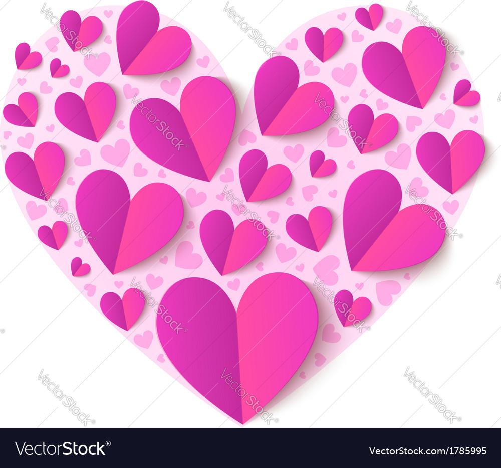 Pink cutout paper hearts vector image
