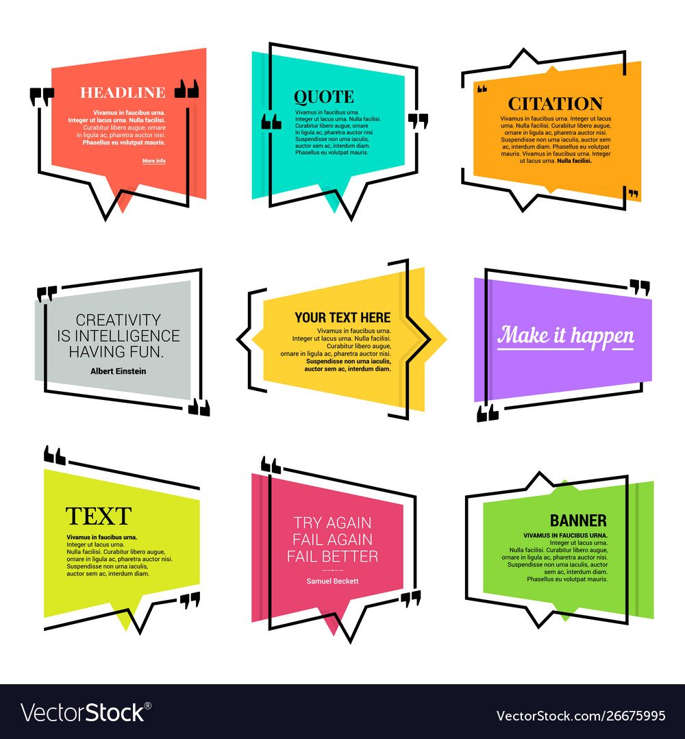 quote blank template design elements paper sheet vector image