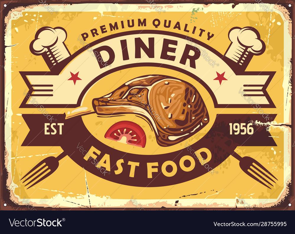 Retro diner sign with lamb steak