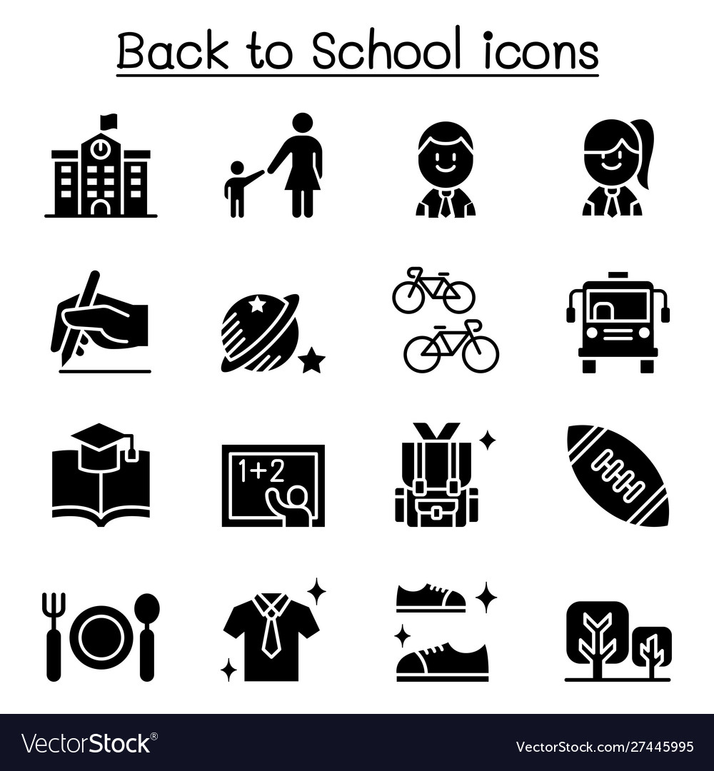 School education learning back to school icon set