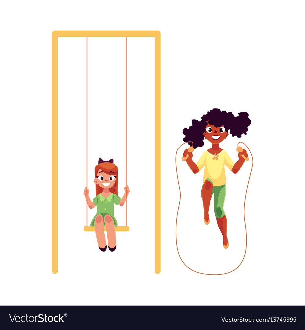 Two girls playing with jumping rope and swinging