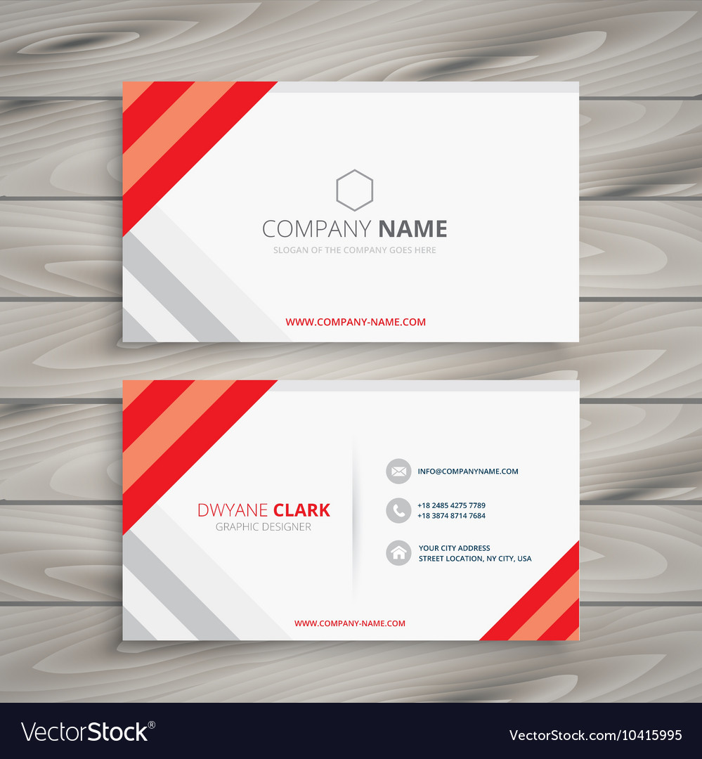 White Red Business Card Template Royalty Free Vector Image