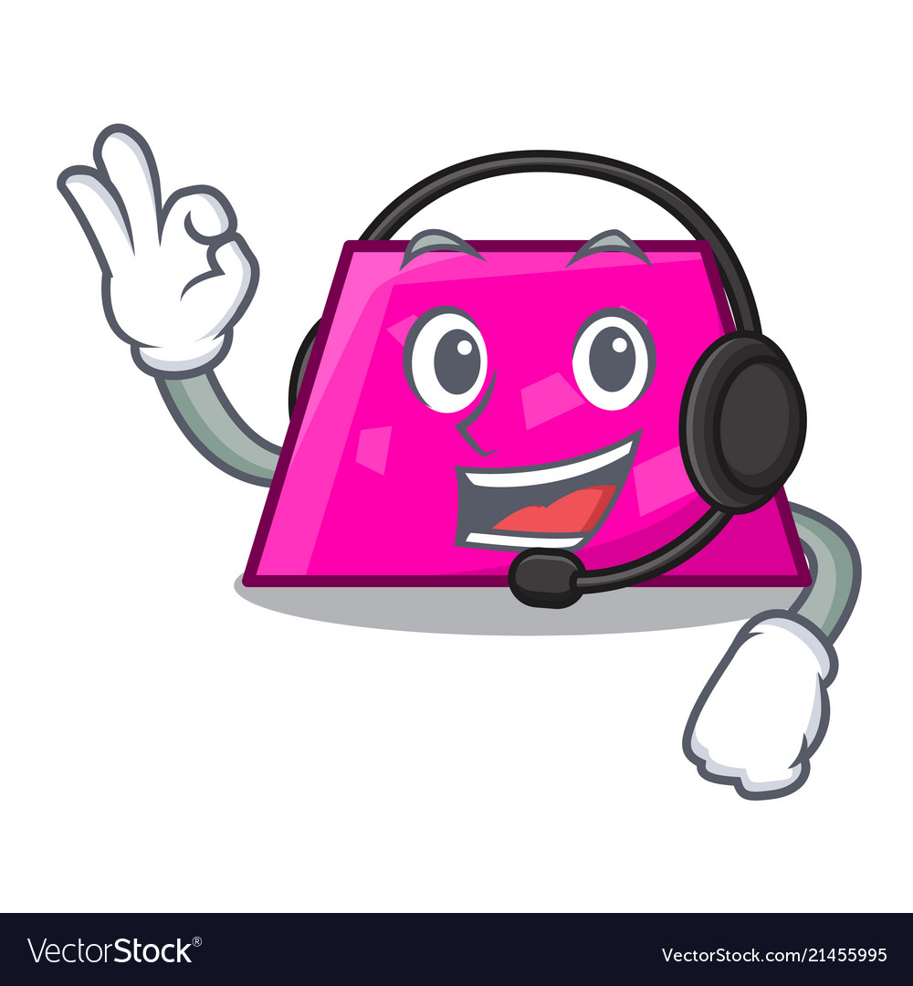 With headphone trapezoid mascot cartoon style