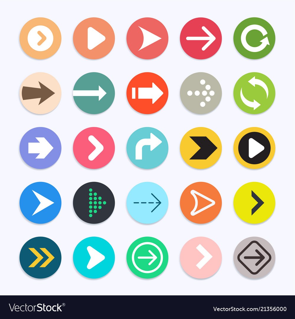 Arrow icons color symbol collection