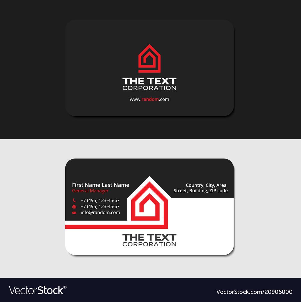 Black Business Card Real Estate Red Color Vector Image