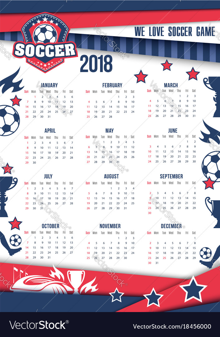 Calendar 2018 for soccer or football Royalty Free Vector