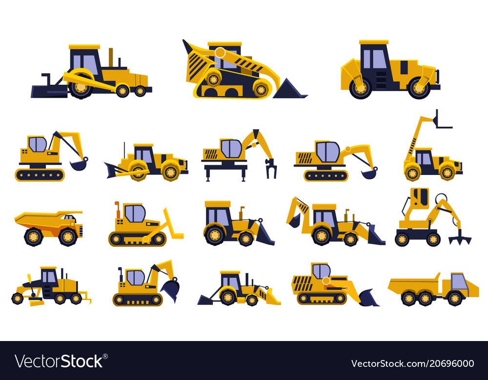 Different types of construction trucks set heavy