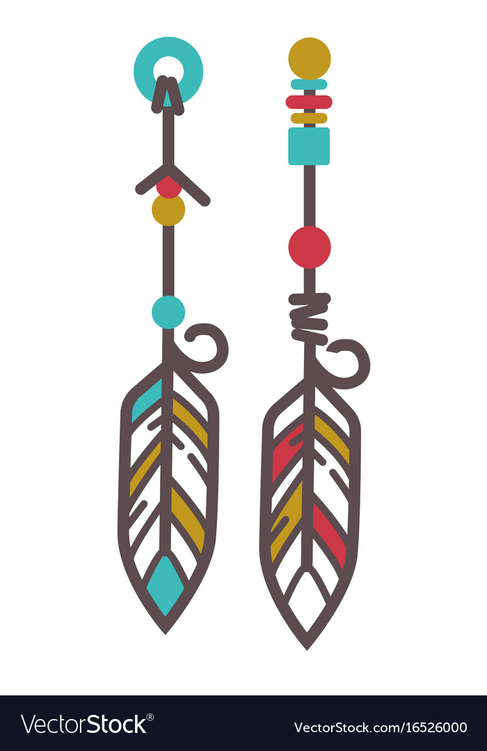 Indian earrings with feathers