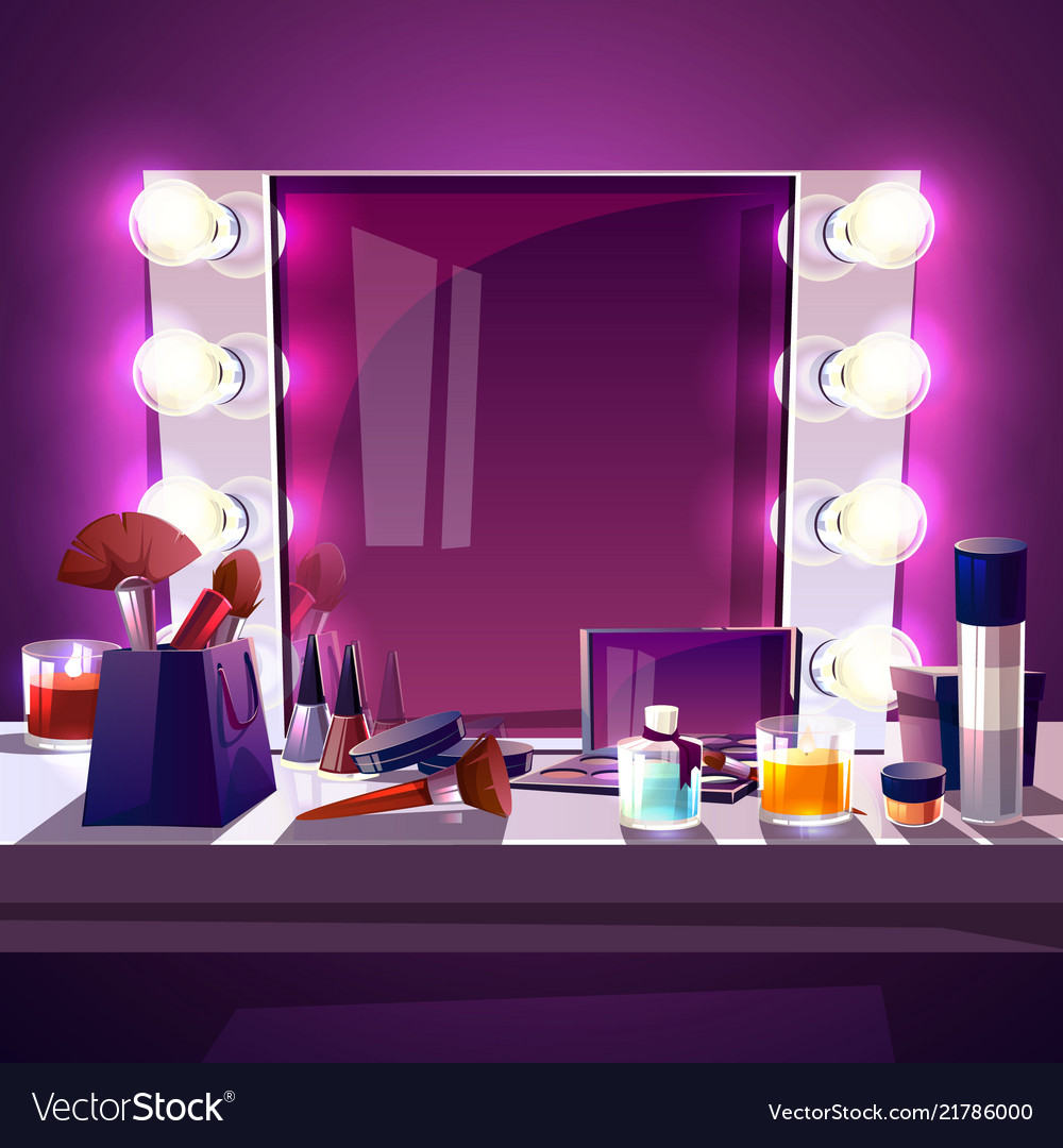 Makeup Mirror With Lamps Royalty Free Vector Image