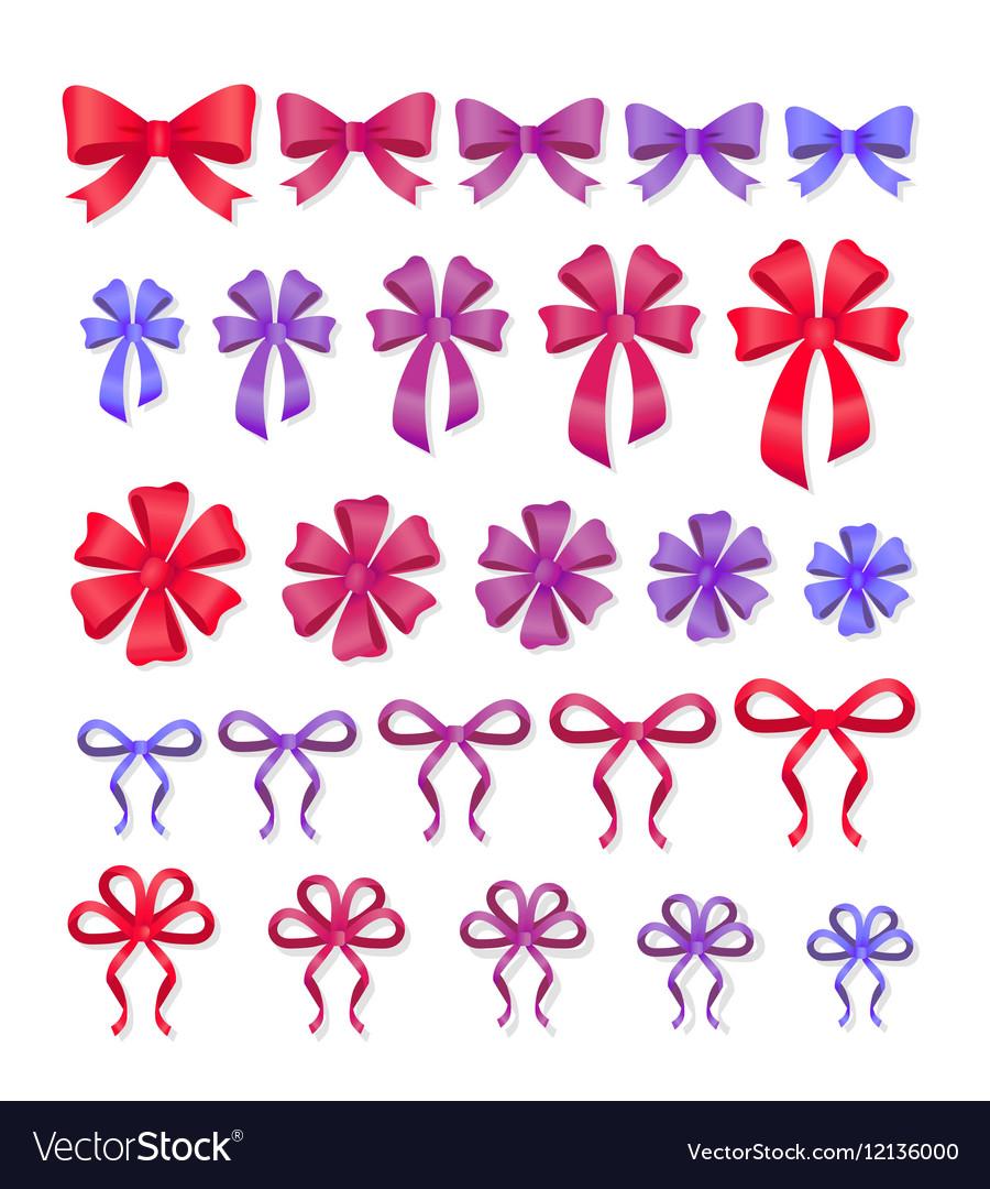 Set Of Decorative Bows Gift Ribbons Present Decor