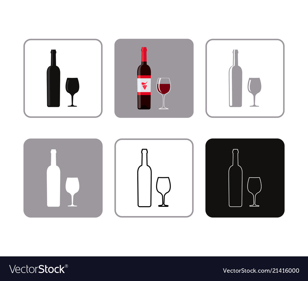 Set of icons of bottle wine with glass
