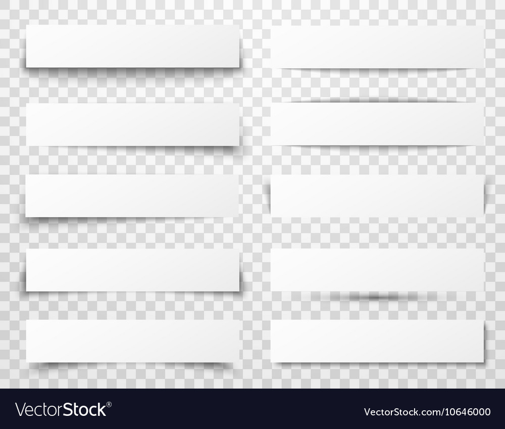 Set of white horizontal paper banners with