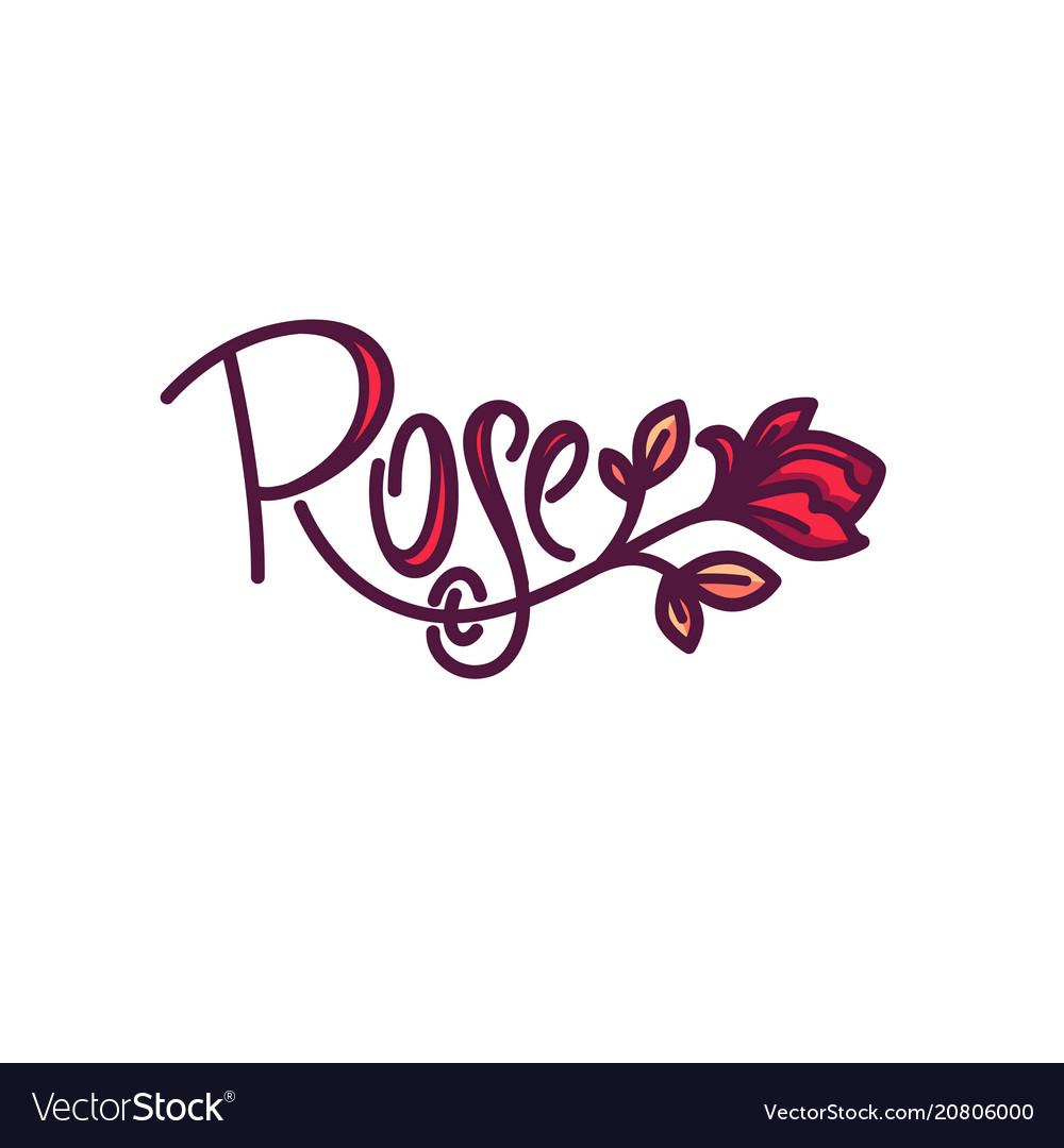 Simple line art doodle rose flower logo with