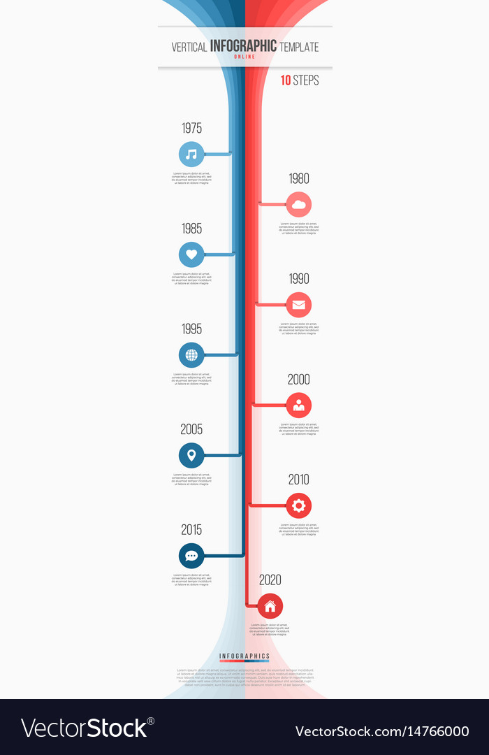 vertical timeline web infographic template 10 vector image