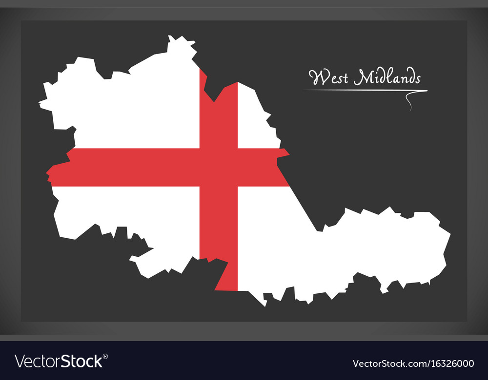 west midlands county map england uk with english vector image
