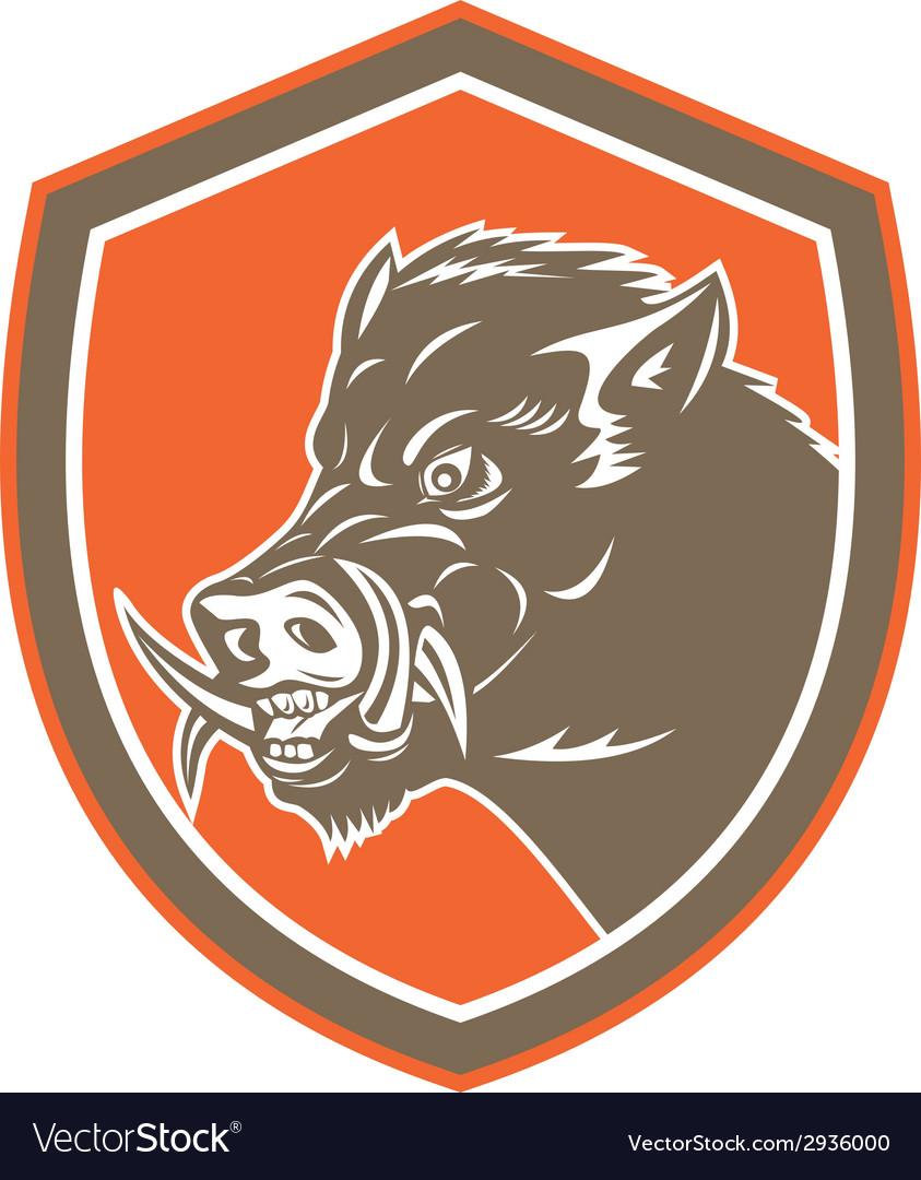 Wild Boar Razorback Head Side Shield Retro vector image