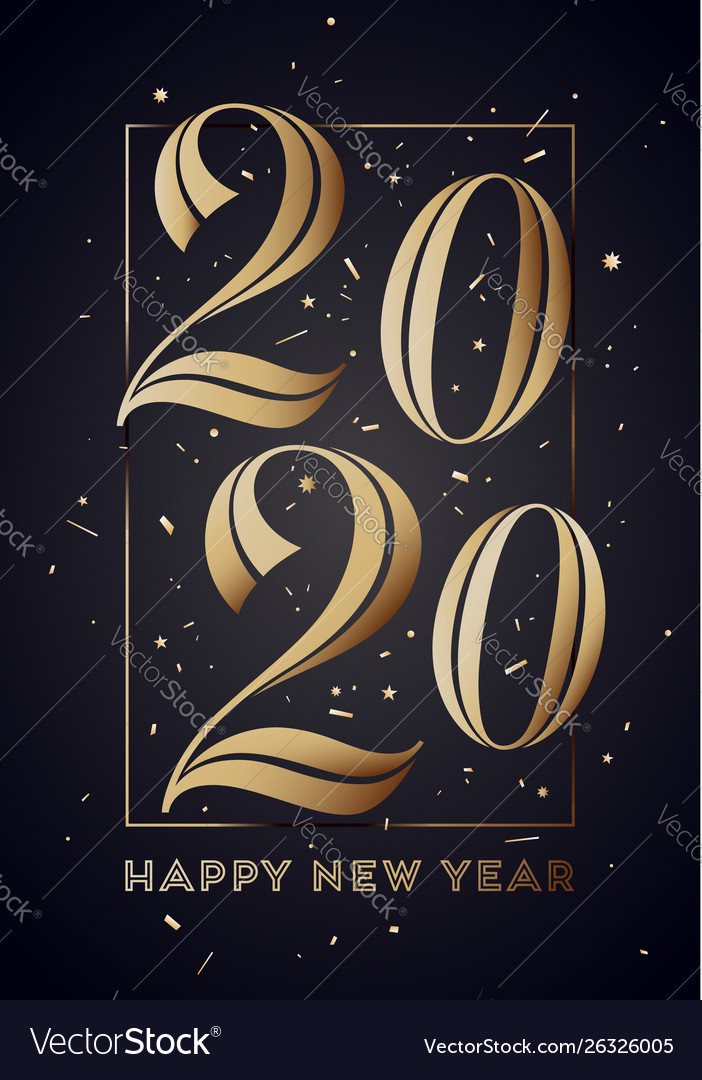 2020 happy new year greeting card with