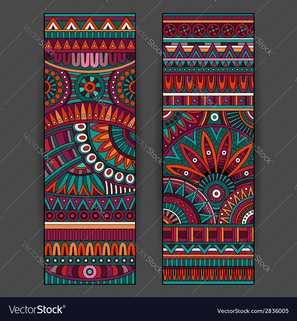 Abstract ethnic pattern cards set