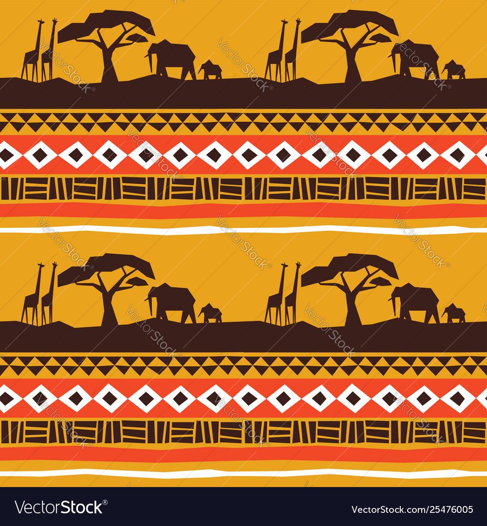 African animal landscape art background