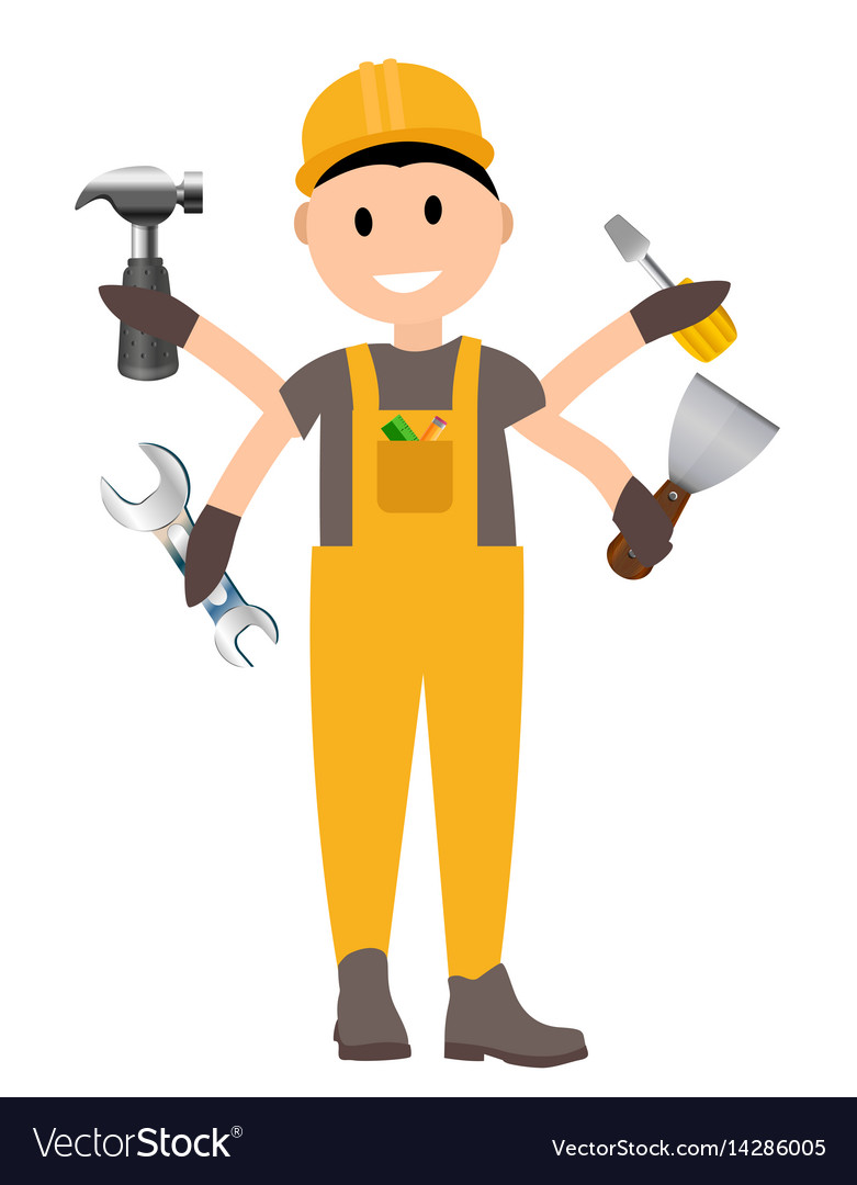Construction worker flat character building man