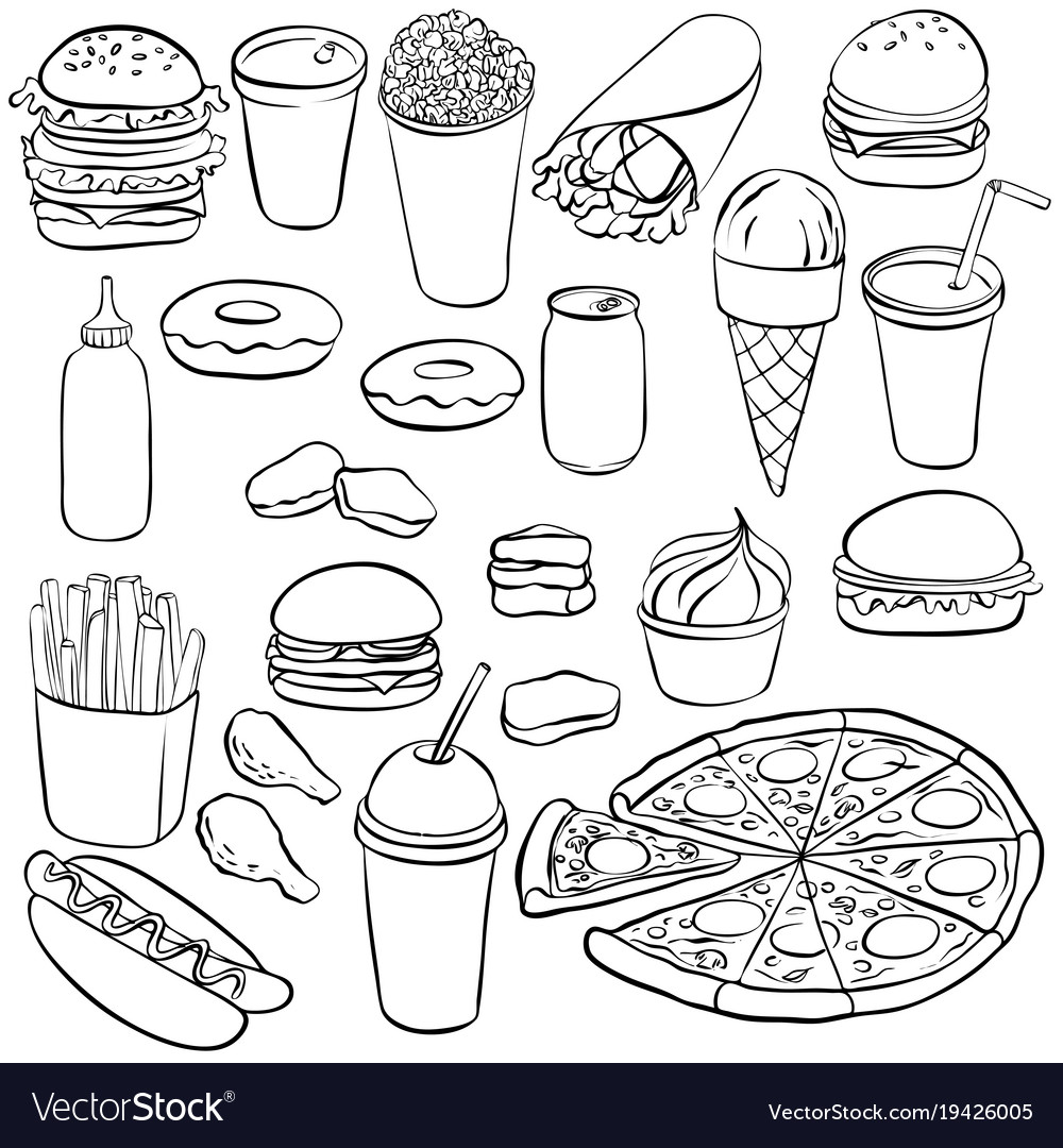 Drawing fastfood vector image