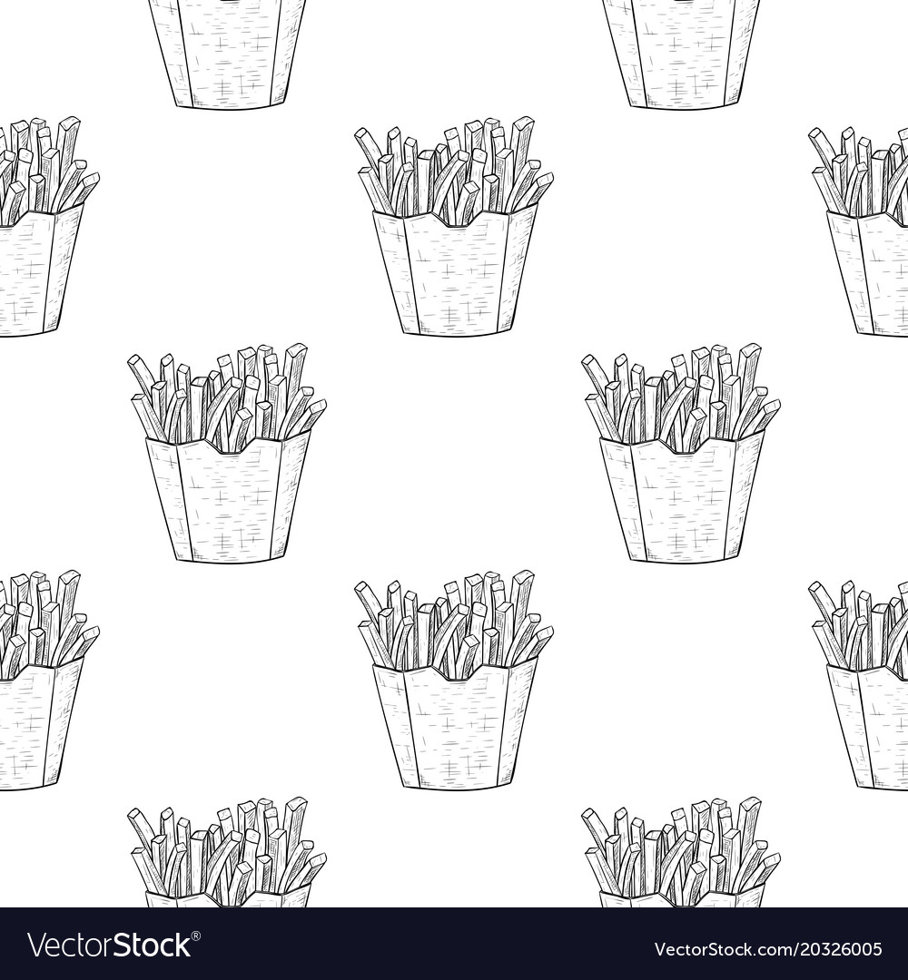 French fries as seamless pattern black and white
