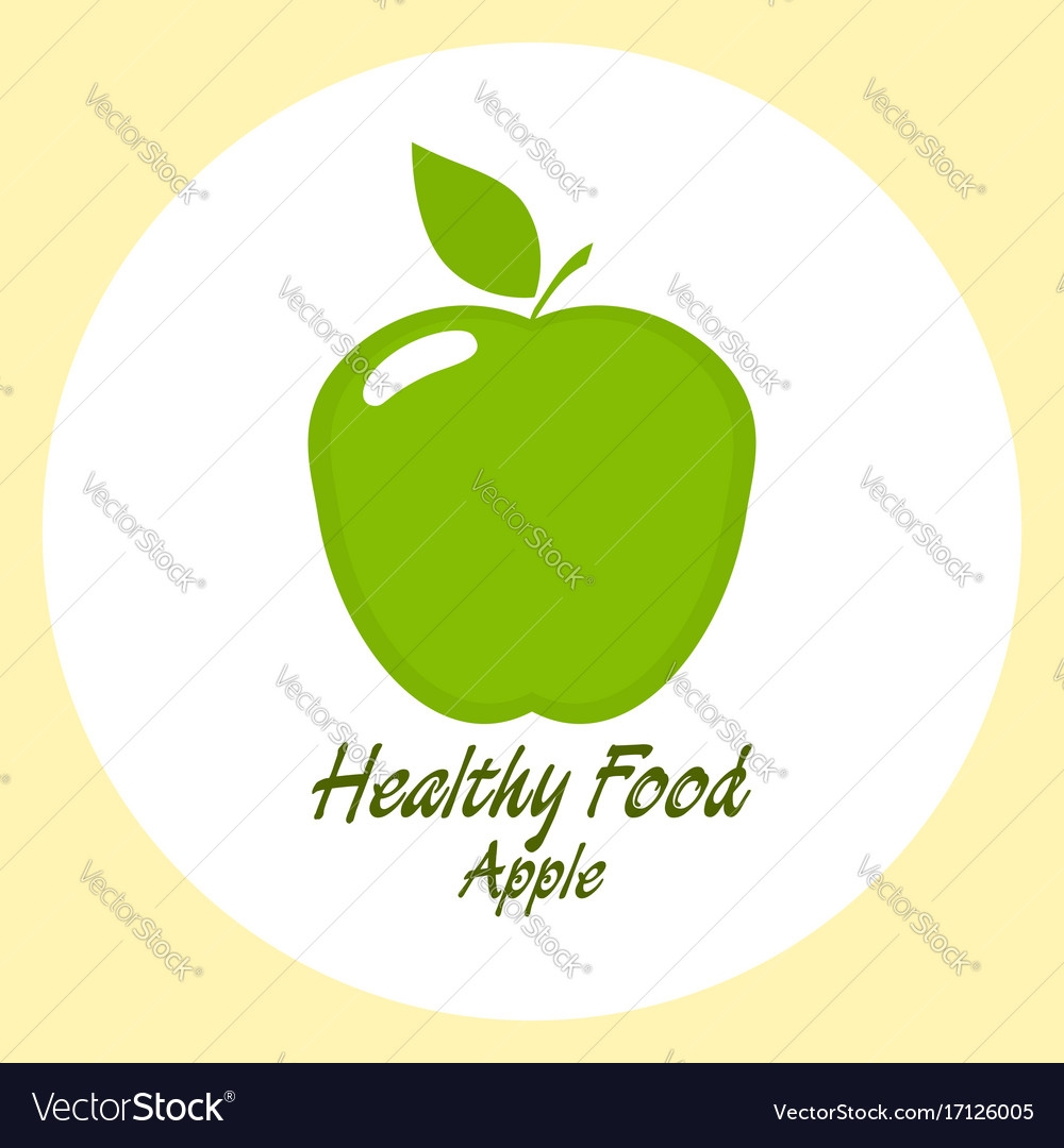 Green apple healthy food concept vector image