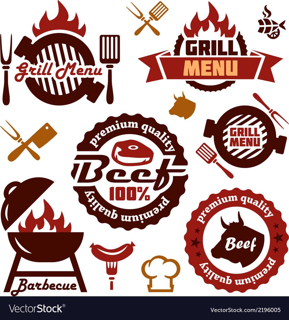 Grill menu design elements set