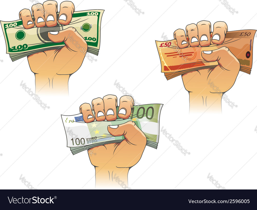 Hand grasping money with dollar euro and pound