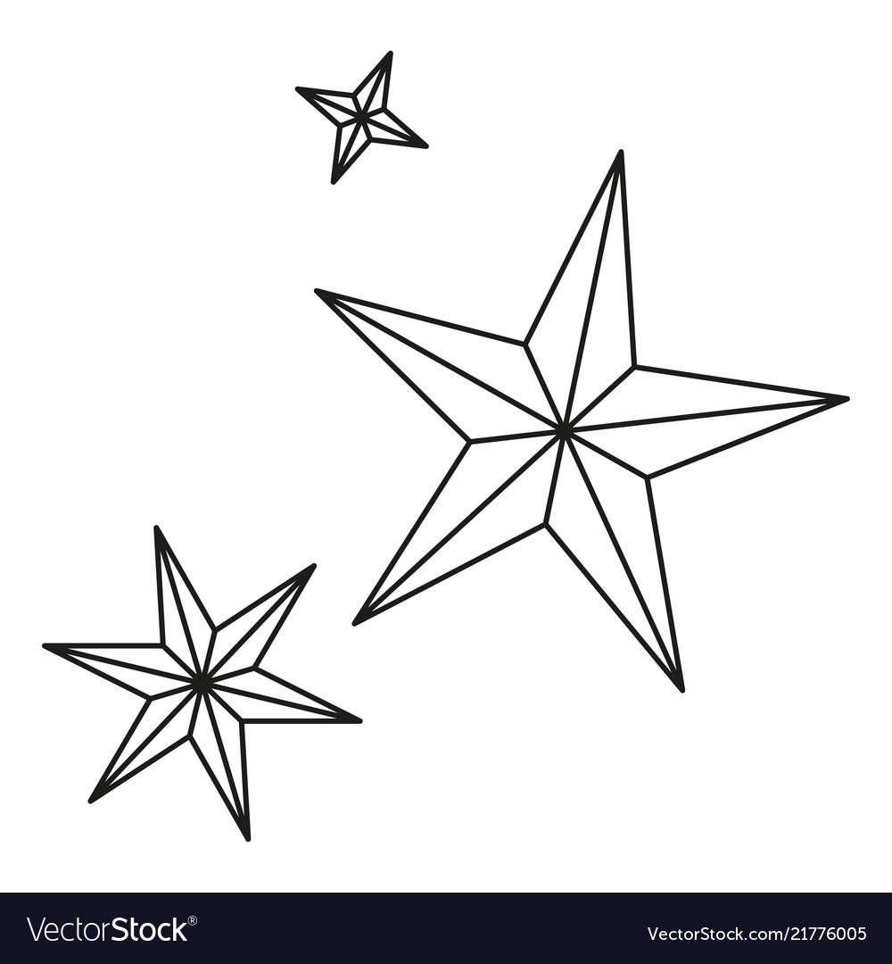 Line art black white christmas stars