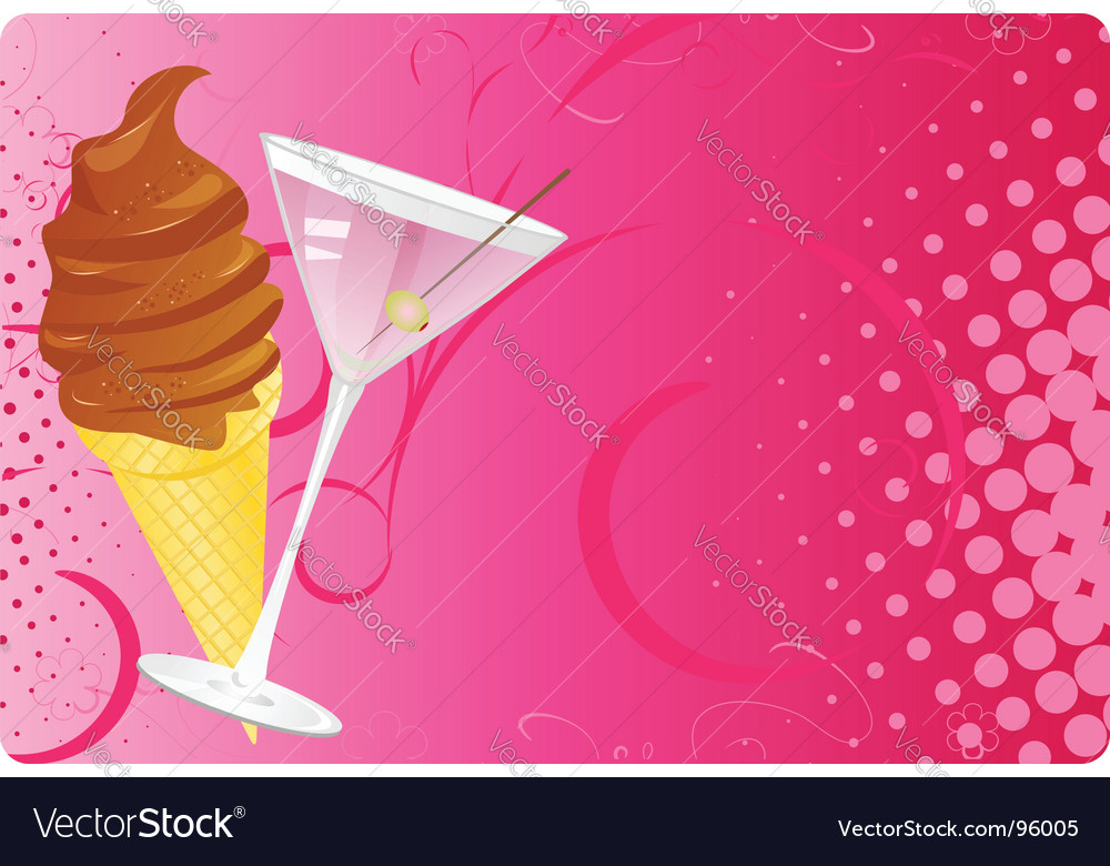 Martini and chocolate ice cream vector image