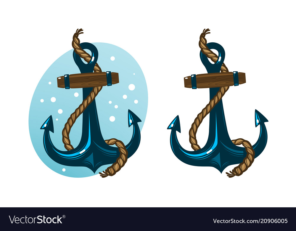 Nautical anchor with rope cartoon