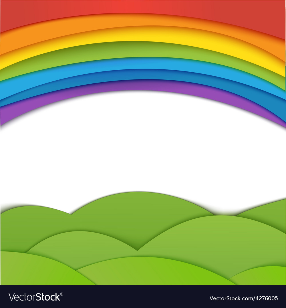 Rainbow background with green field Paper