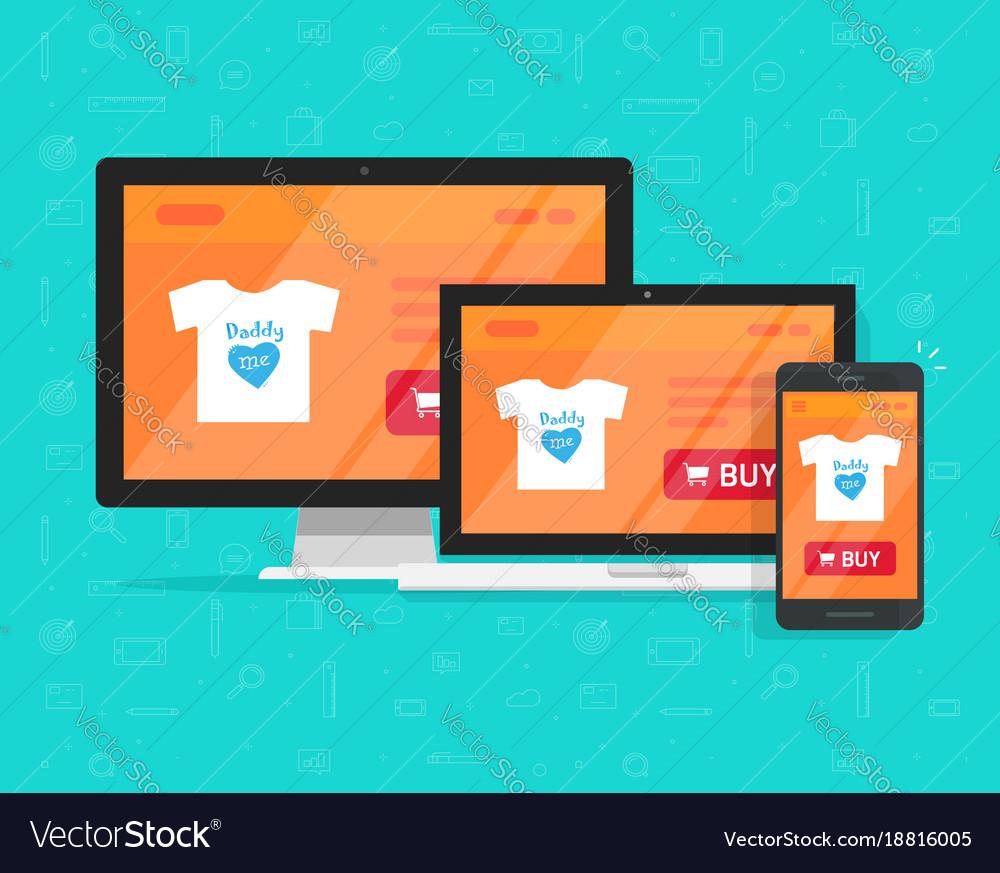 Responsive internet shop design online store web vector image