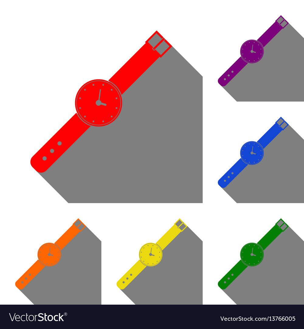 Watch sign set of red orange vector image