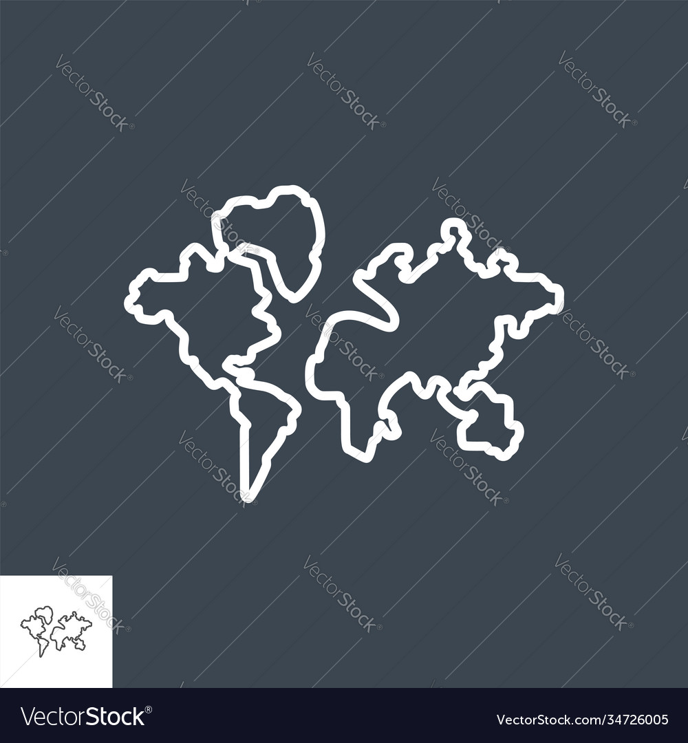 World map related thin line icon