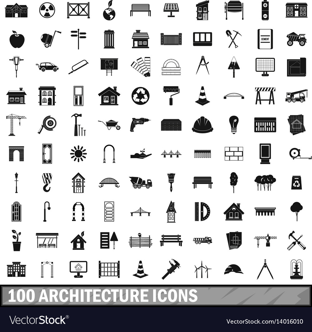 100 architecture icons set simple style vector image