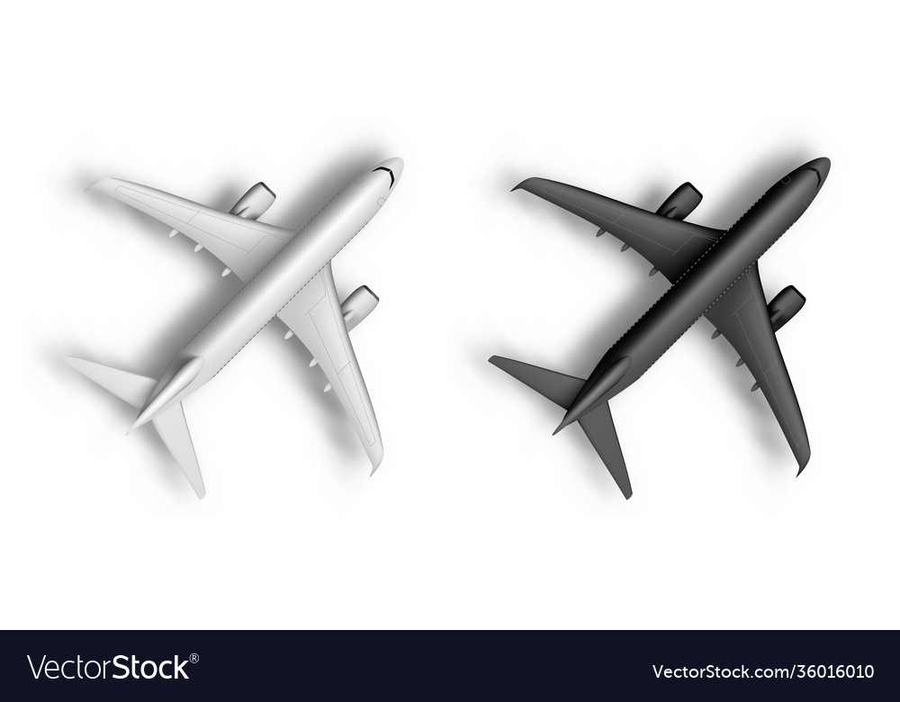 3d abstract white and black airplane isolated