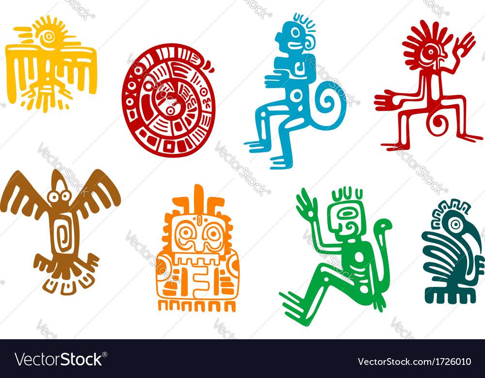 Abstract Maya And Aztec Art Symbols Royalty Free Vector
