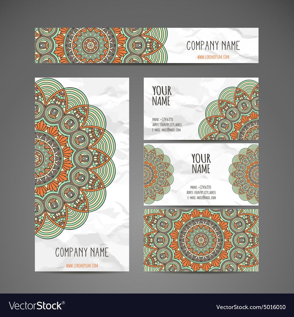 Business Cards Vintage decorative elements Vector Image