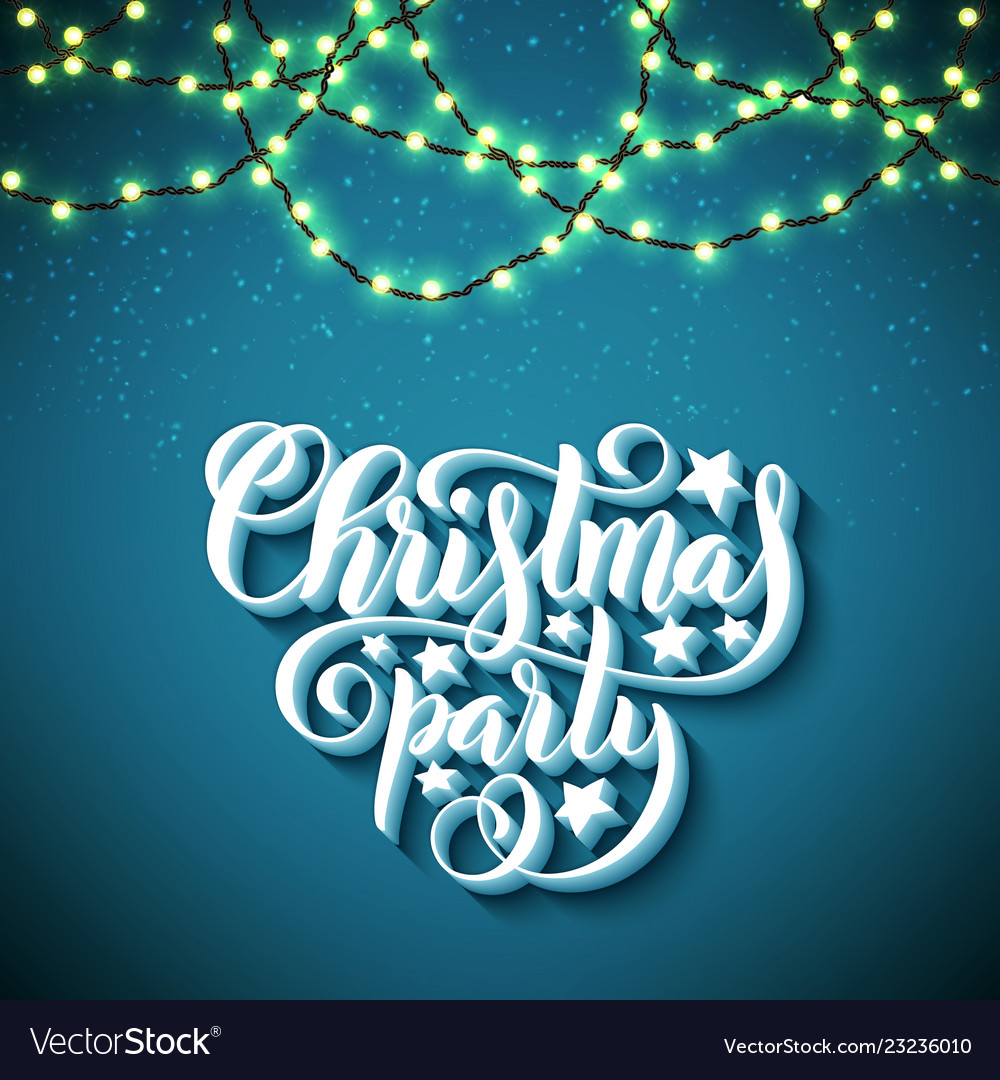 Christmas party poster with hand-drawn lettering