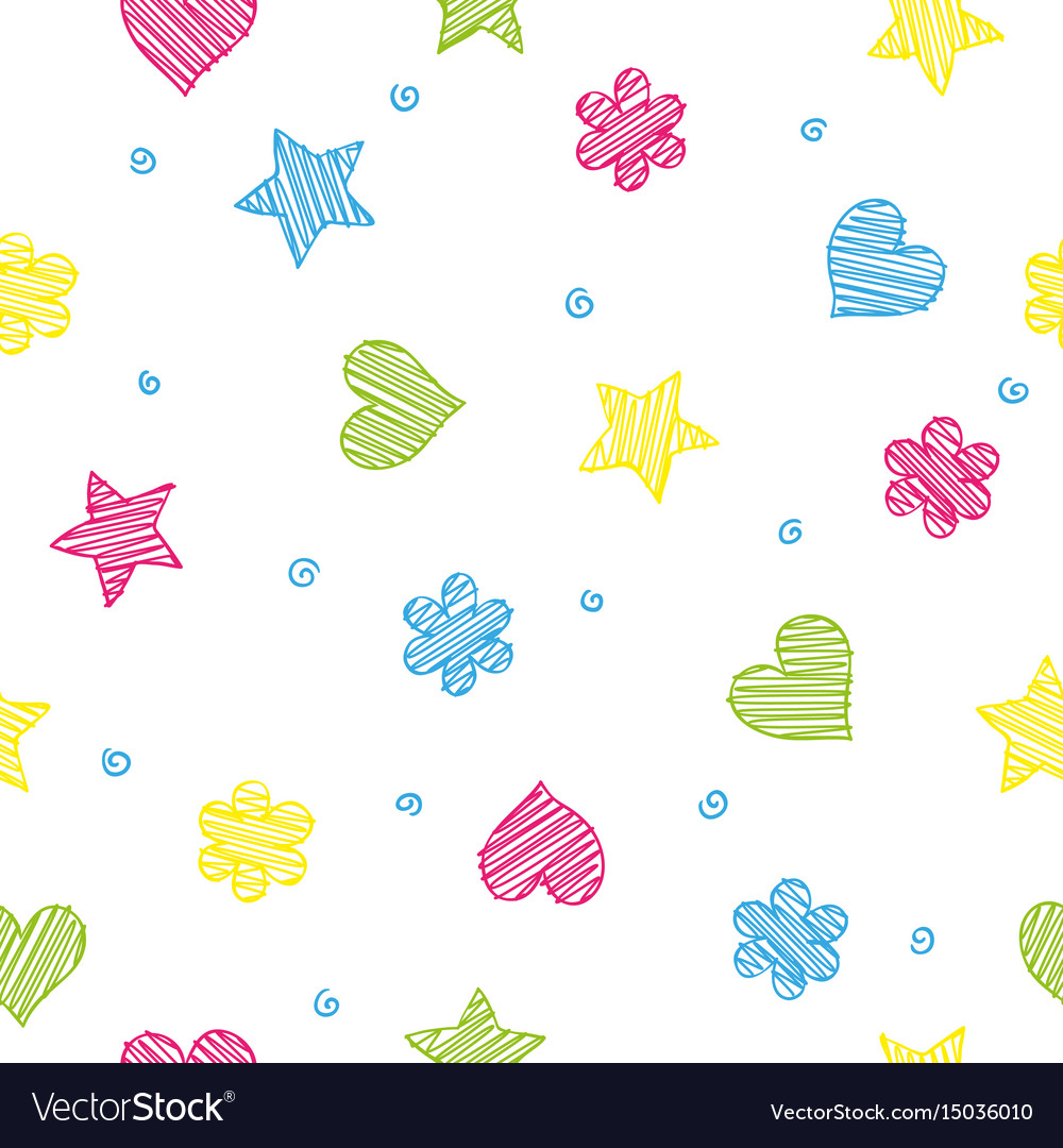 Colorful shapes - heart flower and star seamless